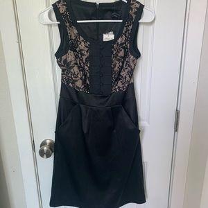 Max & Cleo Black Satin Lace Dress